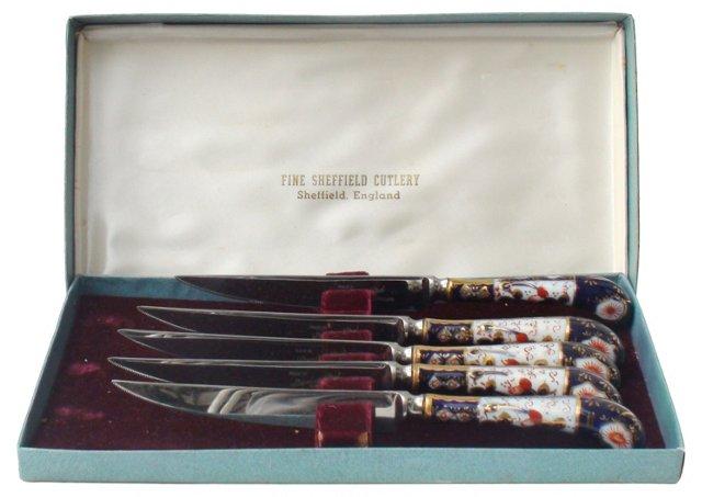 Royal Crown Derby Imari Knives, S/5