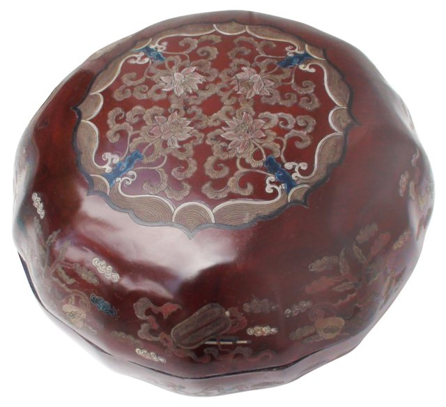 Antique Scalloped Chinese Lacquer Box