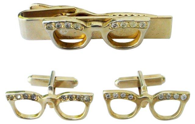 Rhinestone Eyeglass Links & Tie Tack