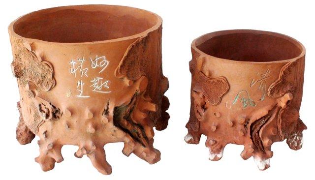 Tree Root Terracotta Planters, Pair