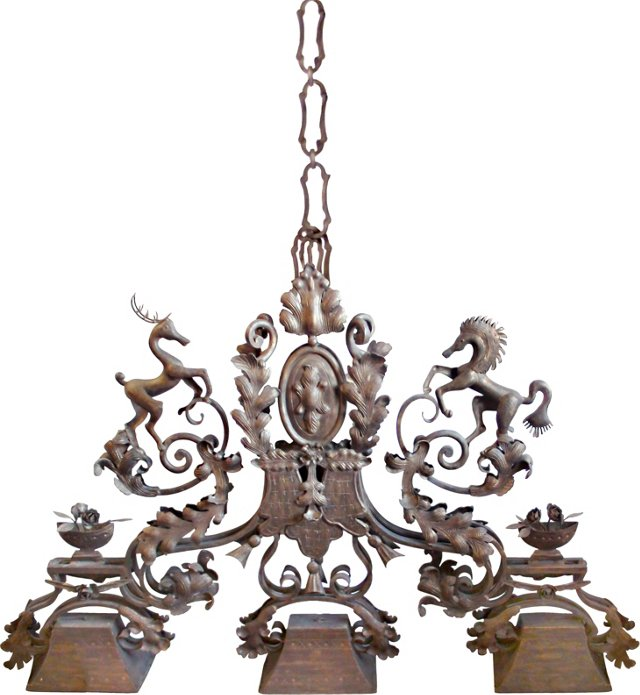 Monumental Hand Forged Bronze Chandelier