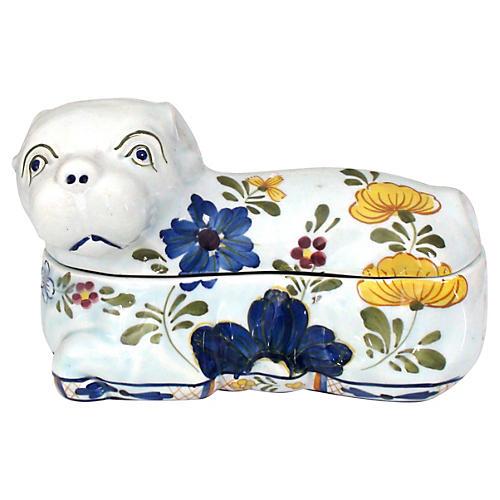 Majolica Porcelain Pug Box