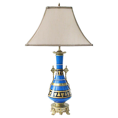 Midcentury Greek Key Bronze Lamp