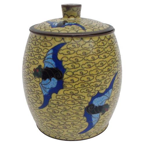 Chinese Cloisonné Jar w/ Figural Bats