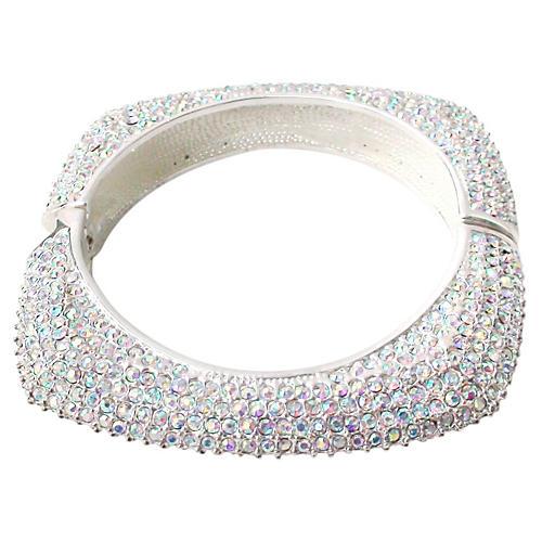 Square Swarovski Clear Crystal Cuff