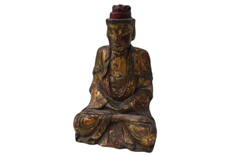 18th-C. Burmese Wood Seated Buddha
