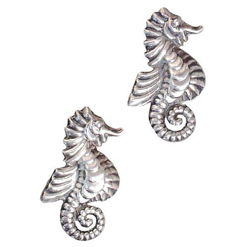 Sterling Seahorse Pins, Pair