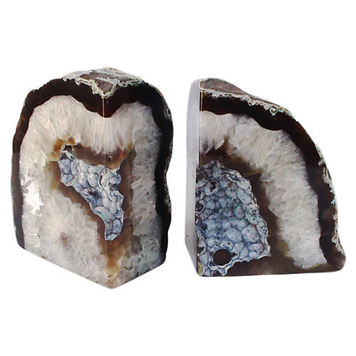 Agate Bookends w/ Silver Core, Pair