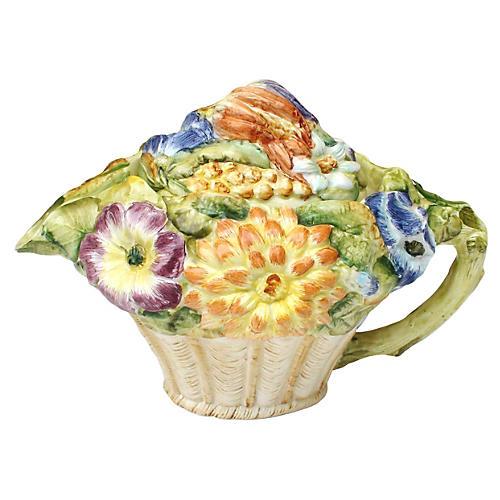 Italian Majolica Flower Teapot