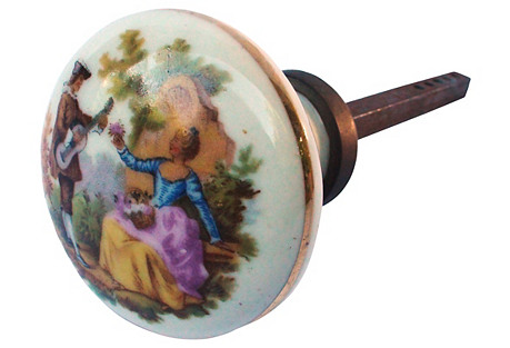 Hand-Painted Porcelain Lovers Doorknob