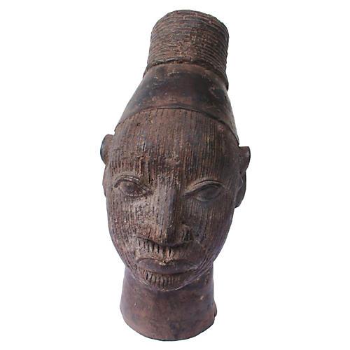 Sand Cast Bronze African Head Statue