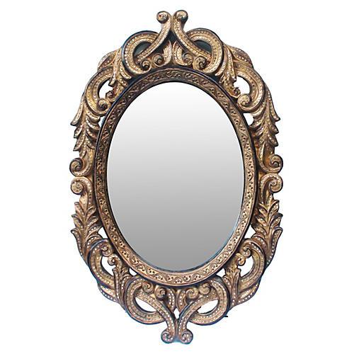 19th-C. Crystal Studded Baroque Mirror
