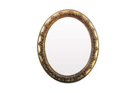 Oval Rose Repousse Gilt Mirror