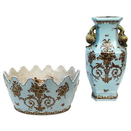 Majolica Jardinière & Vase, S/2