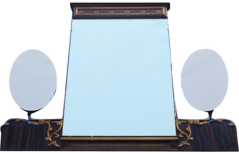 Biedermeier Burled Walnut Bifold Mirror