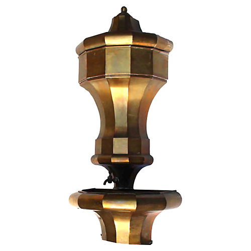 French Brass Lavabo Wall Fountain