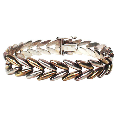 Italian Sterling Laurel Leaf Bracelet