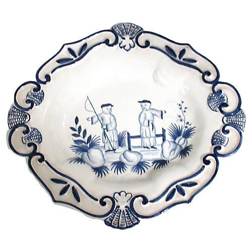 Italian Blue & White Majolica Plate