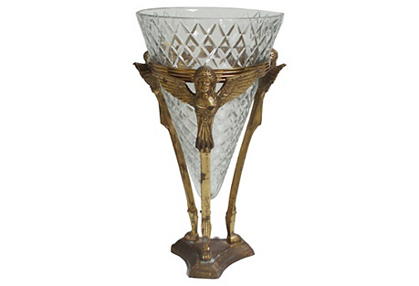 French Empire Caryatid Crystal Vase
