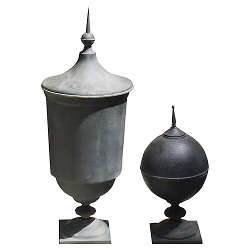 19th-C. French Garden Ornament Urns, S/2