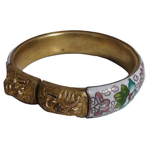 Double Dragon Head Cloisonné Bangle