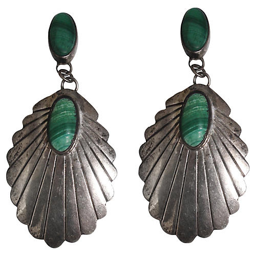 Malachite & Sterling Earrings, Signed