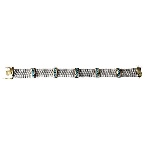 Sterling Mesh Aquamarine Bracelet