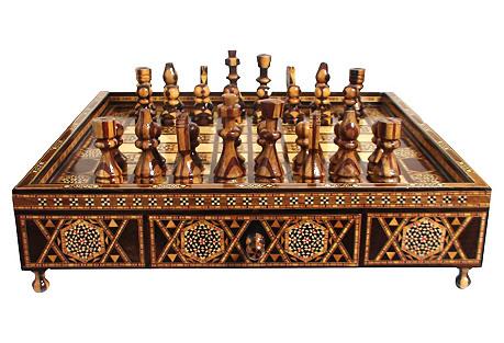 Marquetry Mosaic Chess Set, 33 Pcs