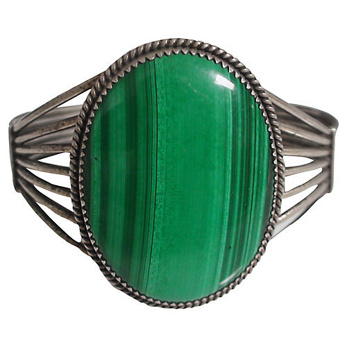 Art Deco Sterling Malachite Cuff