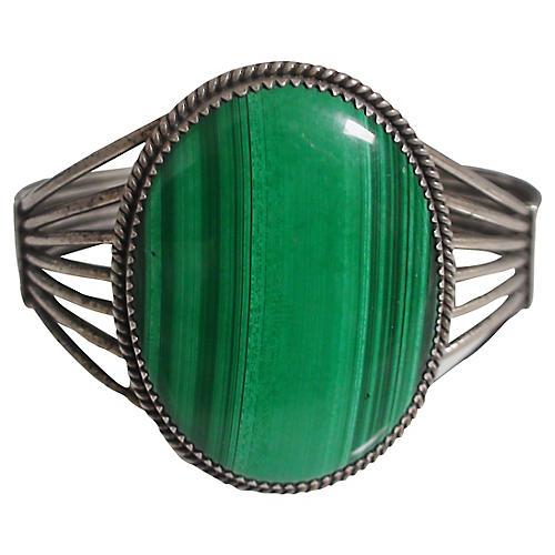 Art Deco Sterling Malachite Cuff