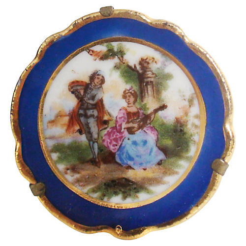 Limoges Miniature Lovers Plate w/ Stand