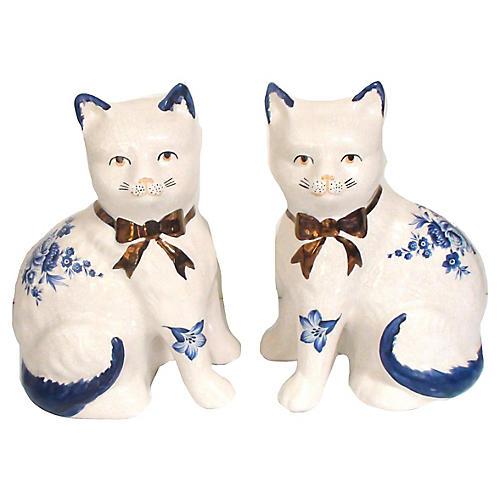 English Mantel Cat Figurines, S/2