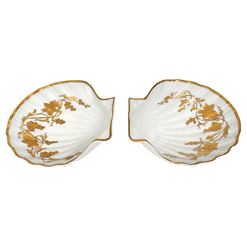 Castel Limoges Clamshell Dishes, S/2