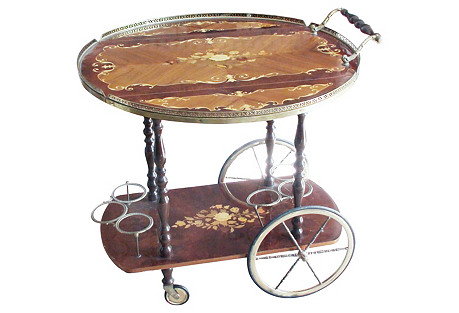 Casa Di Sorrento Inlaid Bar Cart