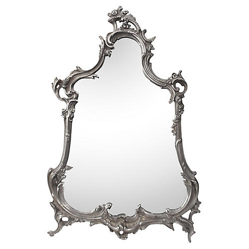 French Silver-Plated Bronze Table Mirror