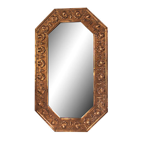 French Copper Seashell Mirror