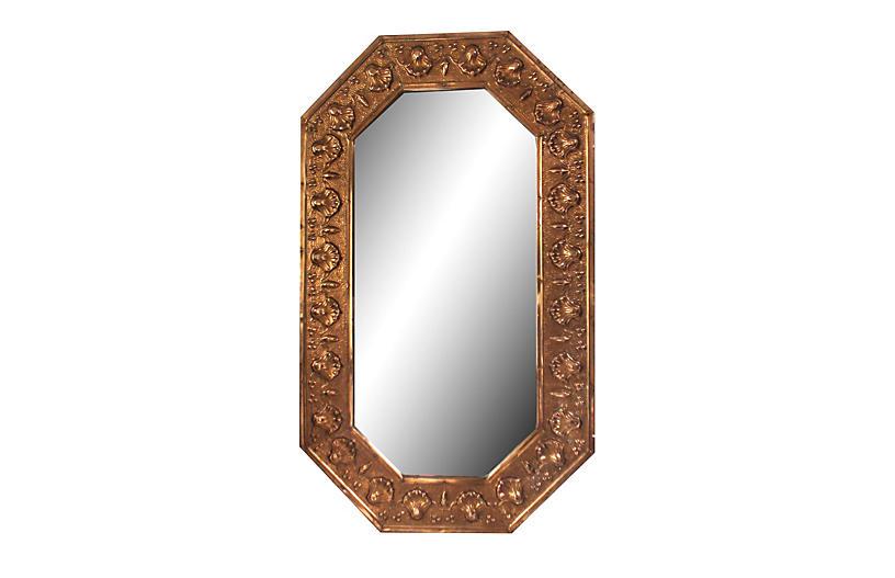 French Copper Seashell Mirror