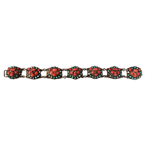 19th-C. Coral & Turquoise Bracelet