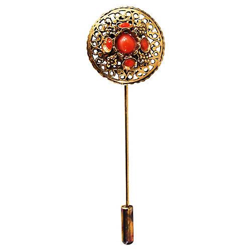 Victorian Filigree Coral Stick Pin