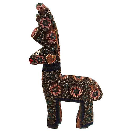 19th-C. Hand-Beaded Reindeer