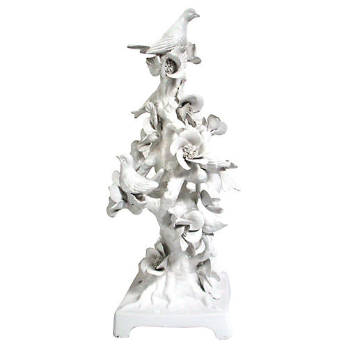 Italian Majolica White Dove Topiary