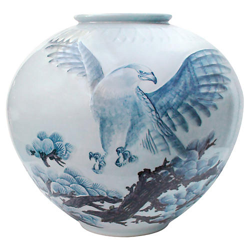Enormous Japanese Eagle Floor Vase