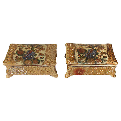 Golden Chinese Lidded Boxes