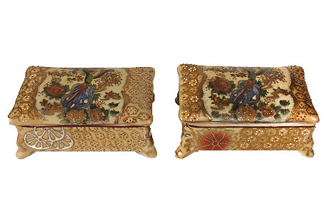 Chinese Lidded Boxes, Pair