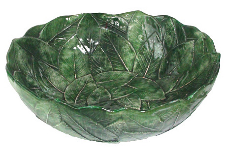 Majolica Overlapped Leaf Bowl