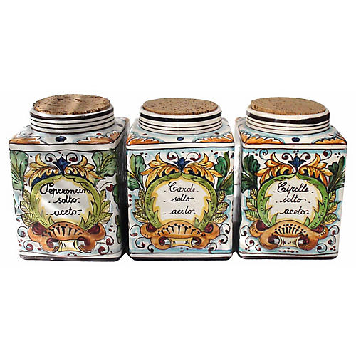 Italian Majolica Spice Canisters, S/3