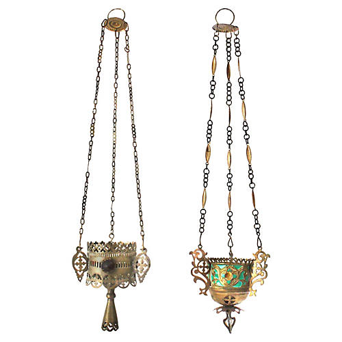 Moroccan Hanging Candleholders, Pair