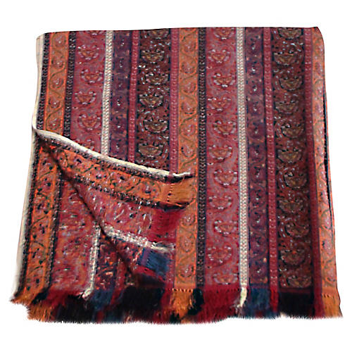 Antique Hand-Loomed Paisley Throw