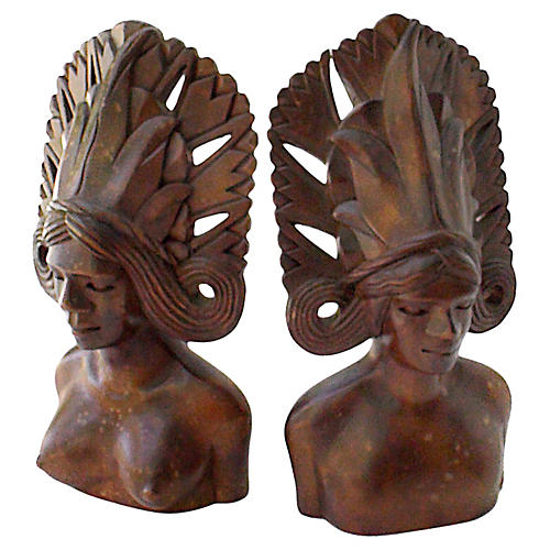 Midcentury Balinese Dancer Carvings, S/2