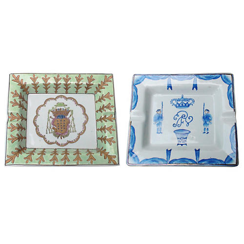 Chinoiserie Cigar Ashtrays, S/2